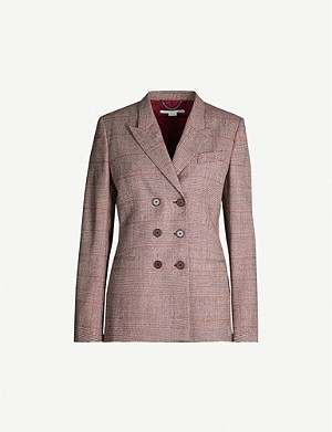 STELLA MCCARTNEY Checked double-breasted stretch-wool blend blazer