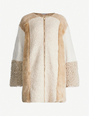 STELLA MCCARTNEY Faux fur-panelled alpaca and wool-blend coat