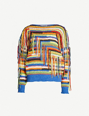 STELLA MCCARTNEY Fringed-appliqué boat-neck knitted jumper