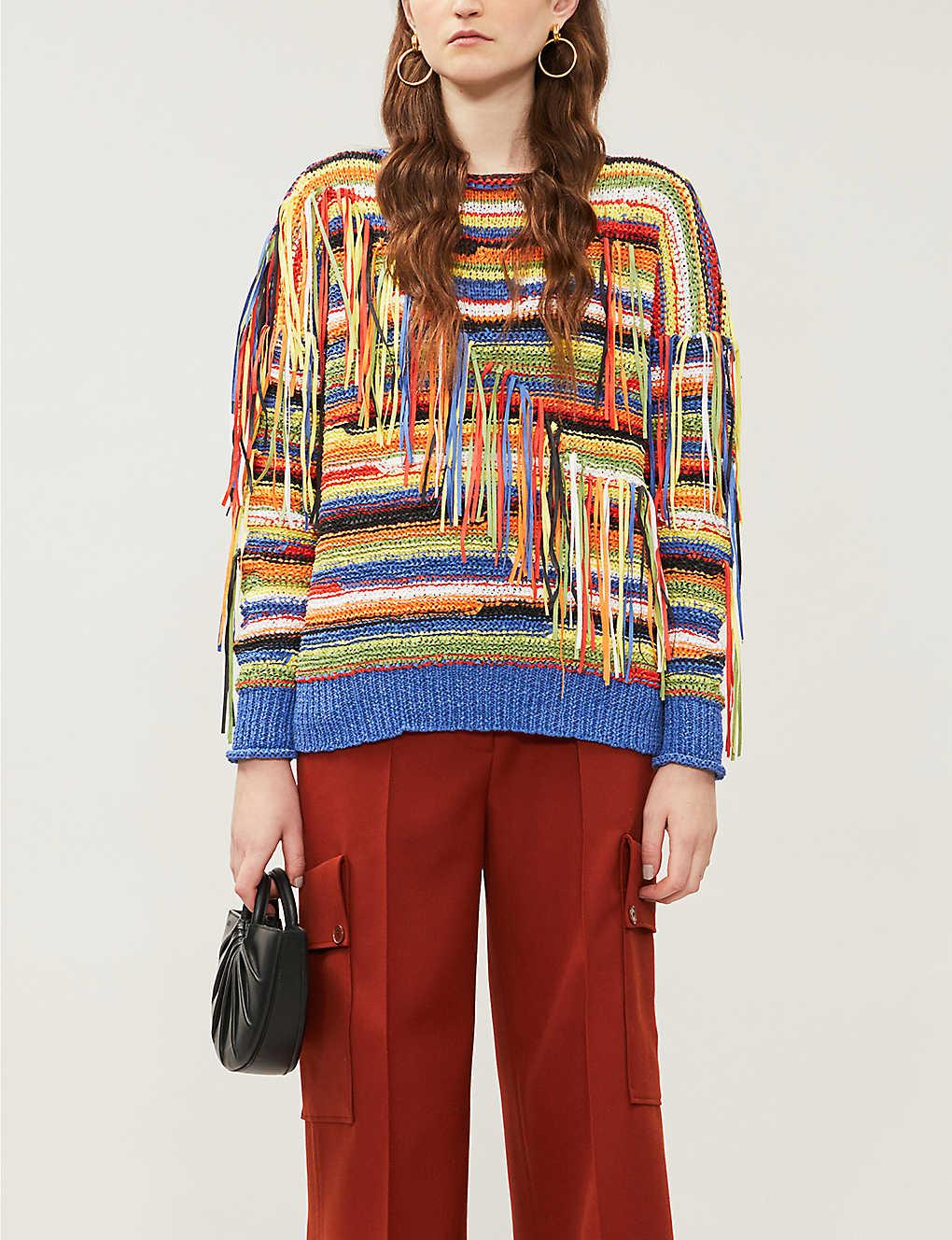 Stella Mccartney Knits Fringed-appliqué boat-neck knitted jumper