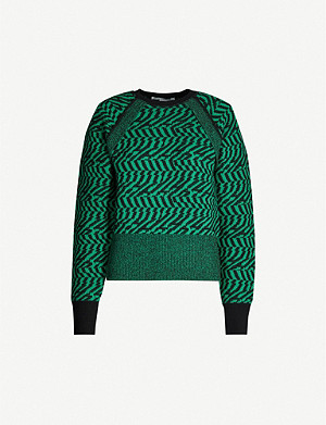 STELLA MCCARTNEY Abstract-pattern raglan-sleeves wool jumper