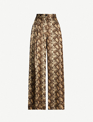 NILI LOTAN Adalene high-rise snake-print silk-satin wide-leg trousers