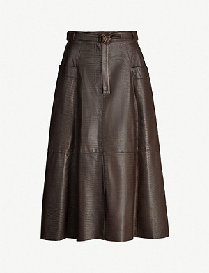 NILI LOTAN Lila high-waist leather midi skirt