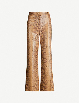 NILI LOTAN Vianna high-rise snake-print leather flared trousers