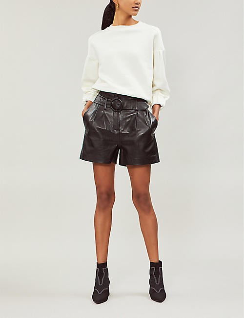 LES COYOTES DE PARIS Jagger high-rise belted leather shorts