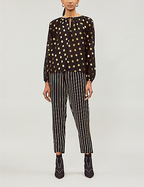 LES COYOTES DE PARIS Justine metallic polka dot fil coupé silk-blend blouse