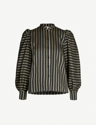 LES COYOTES DE PARIS Helena balloon-sleeve metallic striped woven top