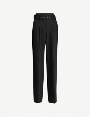 LES COYOTES DE PARIS Rho high-rise belted woven tapered trousers