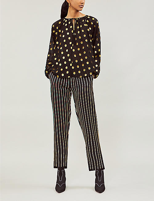 LES COYOTES DE PARIS Anne high-rise metallic striped woven tapered trousers