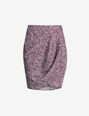 LES COYOTES DE PARIS Beaudine printed linen and cotton-blend skirt