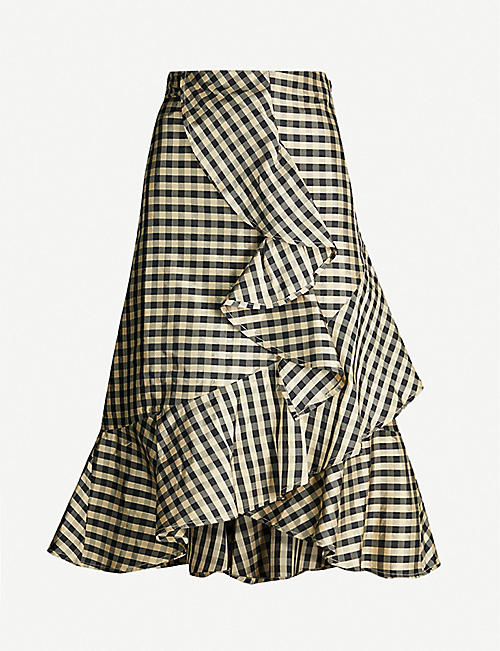 LES COYOTES DE PARIS Maeyles checked high-rise silk skirt