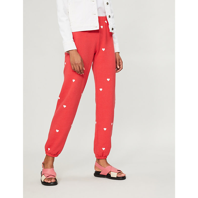 Lovestruck Cotton-Jersey Jogging Bottoms, Scarlet