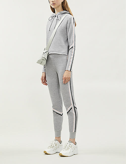 WILDFOX Spectral Ivy stripe-trimmed cropped cotton-blend hoody