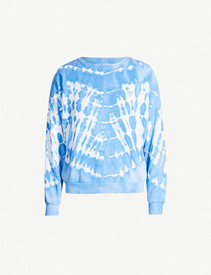 WILDFOX Tie-dye raglan-sleeved fleece jumper