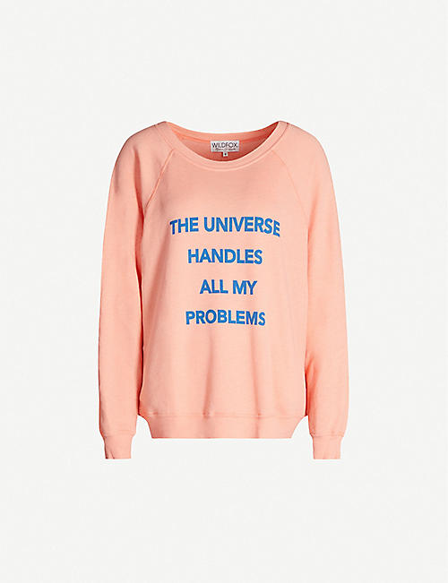 WILDFOX The Universe Sommers slogan-print cotton-blend sweatshirt