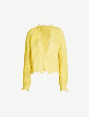 WILDFOX Palmetto frayed-hem cotton jumper