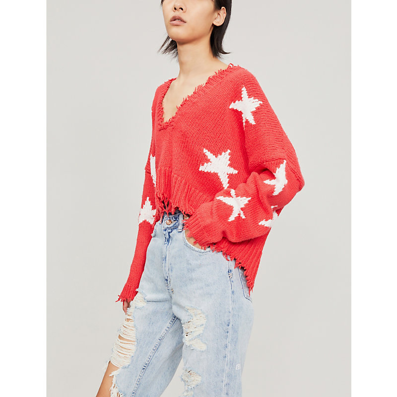 Wildfox STAR-PATTERNED COTTON JUMPER