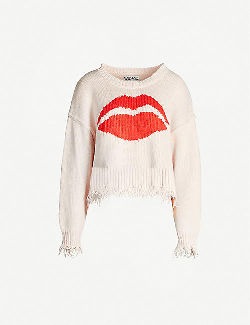 WILDFOX Intarsia cotton-knit jumper