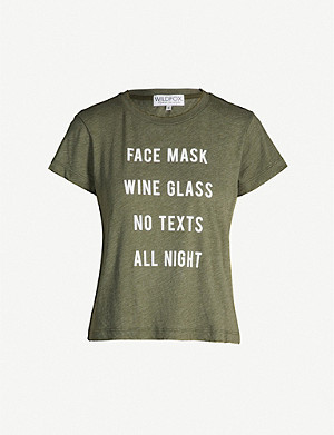 WILDFOX Slogan-print cotton-blend T-shirt