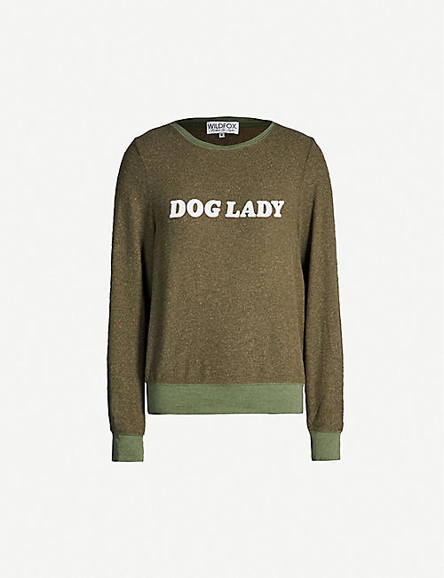WILDFOX 'Dog lady' print fleece sweatshirt