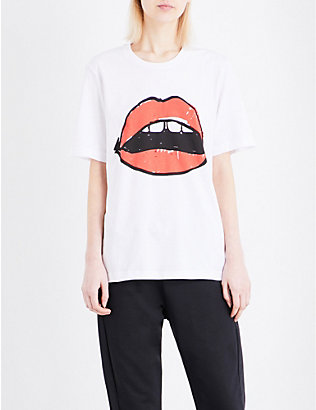MARKUS LUPFER: Alex Lara lip cotton-jersey T-shirt