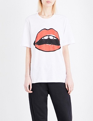 MARKUS LUPFER Alex Lara lip cotton-jersey T-shirt