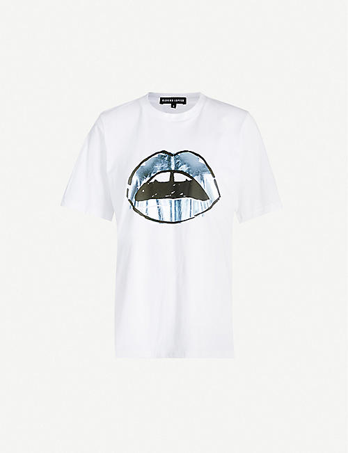 MARKUS LUPFER Alex lip-print cotton T-shirt