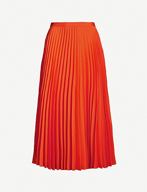 CHINTI AND PARKER Pleated A-line high-waist crepe midi skirt