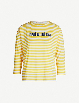 CHINTI AND PARKER Très Bien slogan cropped-sleeve cotton-jersey top