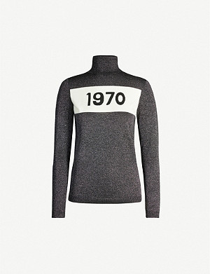 BELLA FREUD 1970 metallic turtleneck jersey top