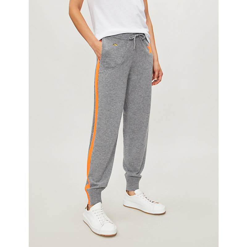 Billie Side-Stripe Cashmere Jogger Track Pants in Grey Marl Fluro Orange
