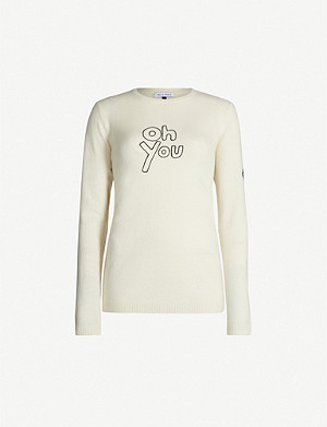 BELLA FREUD Oh You text-embroidered cashmere jumper