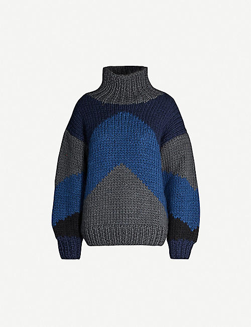 BLANCHE Emma turtleneck colour-block wool jumper