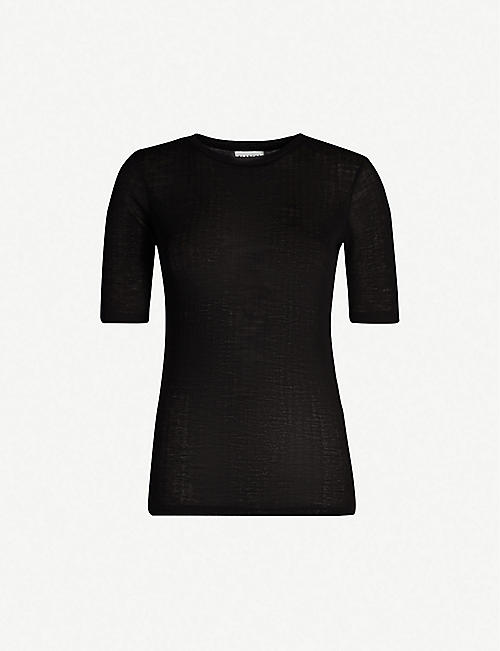 BLANCHE Semi-sheer wool T-shirt