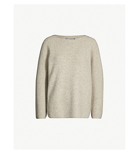 05c1202193 VINCE Boat-neck cashmere and silk-blend sweater (Marble+natural