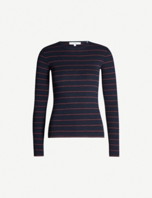 VINCE Round-neck striped jersey top