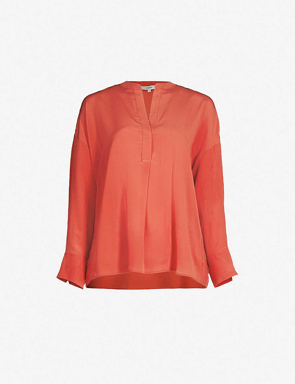 5a66c99ea57fd9 VINCE - Band collar silk blouse | Selfridges.com
