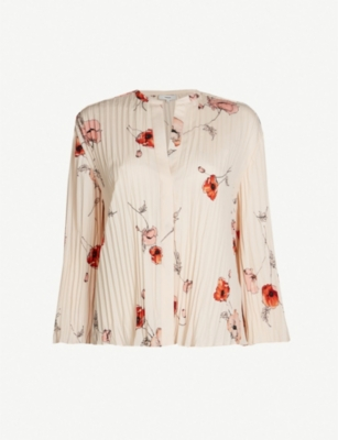 VINCE Tossed Poppy print crepe blouse