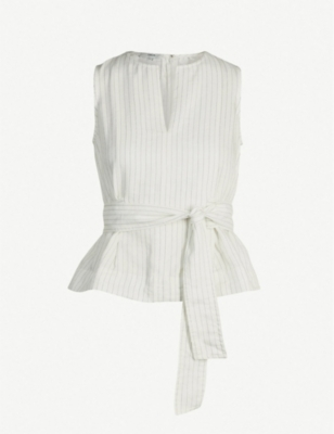 VINCE Striped sleeveless crepe top