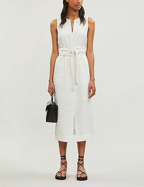 VINCE Pencil-stripe sleeveless crepe midi dress