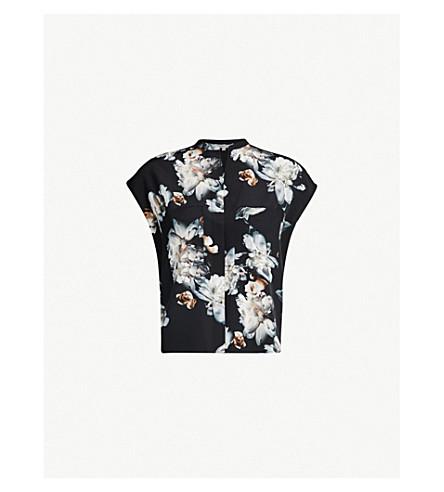 843616606f8cb VINCE Nighttime Peony-print silk-crepe shirt (Black