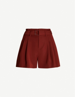 VINCE High-rise crepe shorts