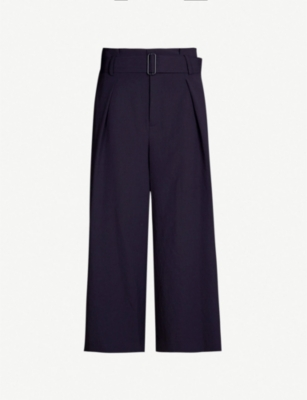 VINCE Belted wide high-rise crepe trousers