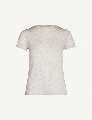 VINCE Fine-knit wool and cashmere-blend T-shirt