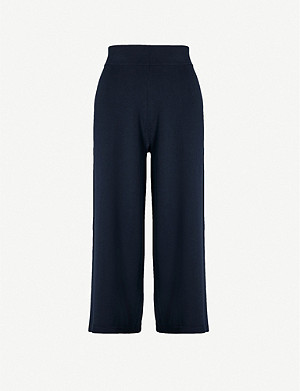 VINCE Cropped wide high-rise knitted trousers