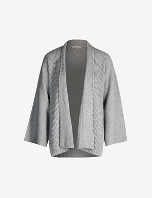 VINCE Split-panel wool and cashmere-blend cardigan