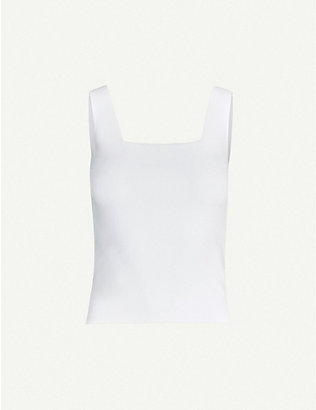 VINCE: Square-neck stretch-knit top