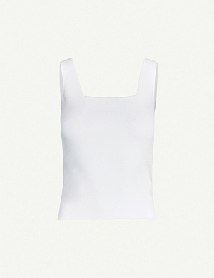 VINCE Square-neck stretch-knit top