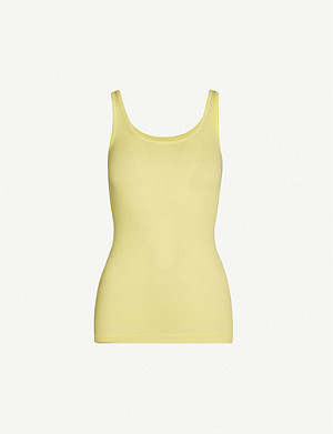 VINCE Fitted sleeveless cotton-blend top
