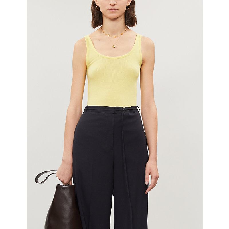 Vince 0 FITTED SLEEVELESS COTTON-BLEND TOP